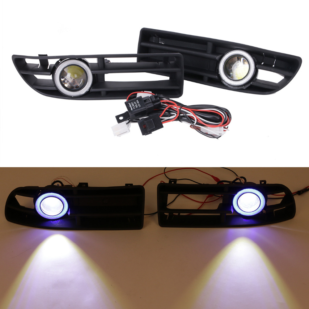 Blue Angel Eyes Front Bumper Grille Cover LED Fog Lights Kit For VW JETTA TDI GL GLS Bora 1999-2004 #9446 wisengear front bumper grille fog light angel eyes led lamp with wiring switch kit for mitsubishi lancer 2008 2015 c 5