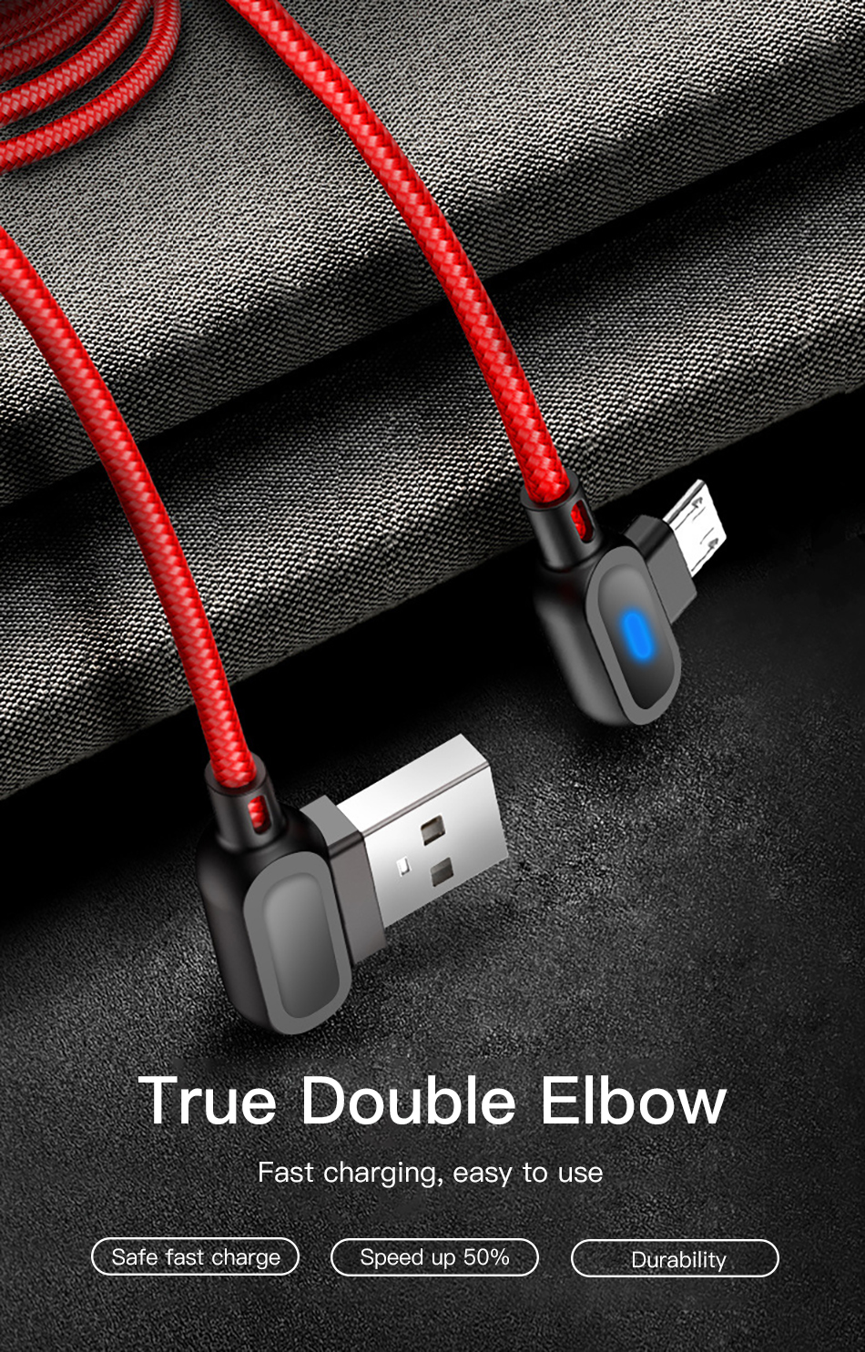 !ACCEZZ 90 Degree Micro USB Cable Fast Charging For Xiaomi Redmi Note 5 Pro Samsung S6 S7 Huawei Tablet Android Data Sync Cables (2)
