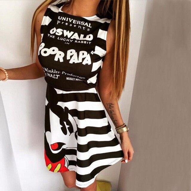 2016 Fashion Sleeveless A Line Minnie Mouse Dress Women Black And