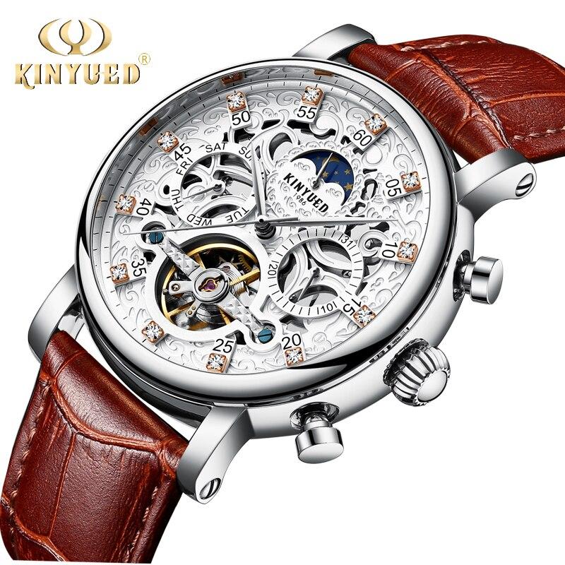 KINYUED Squelette montre automatique pour homme Sun Moon Phase Étanche Mens Tourbillon montres mécaniques Top Marque montres de luxe
