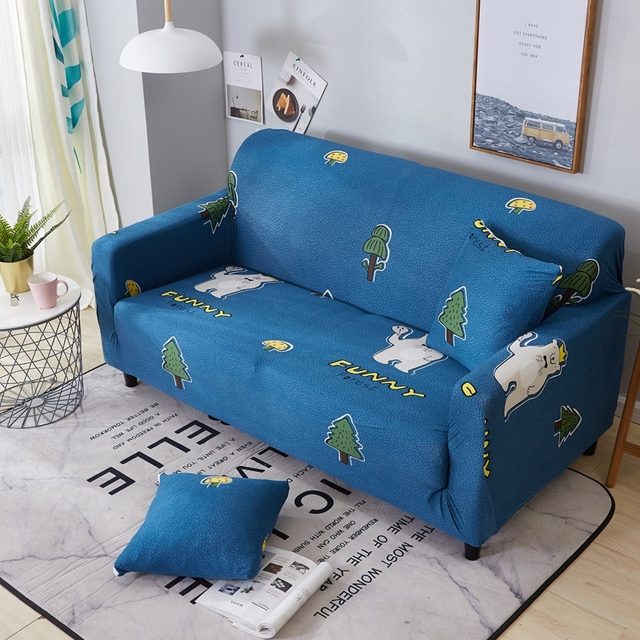 Cartoon Blue Elastic Couch/Corner Sofa Slipcovers For Living Room Home  Decor Furniture Covers Stretchy Sectional Sofa Covers-in Sofa Cover from  Home & ...