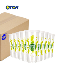 OTOR 100 шт 17 унций 22 унции одноразовый полипропиленовый прозрачный пластиковый чашки с крышками для горячих и холодных напитков со льдом кофе пузырьков Boba смузи