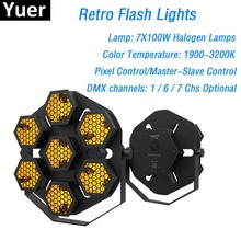 1Pcs/Lot Retro Flash Lights High Power 7X100W Halogen Lamps Transport Pixel/Master-Slave Control Dj Party Stage