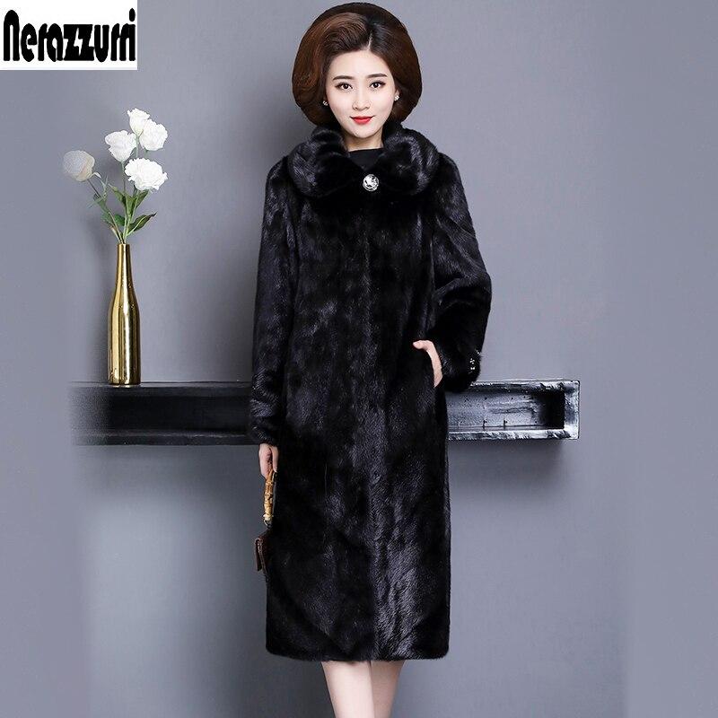 Nerazzurri manteau de fourrure de vison véritable femmes hiver noir grande taille manteaux de vison 5xl 6xl 7xl à manches longues chaud naturel manteau de fourrure