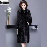 Nerazzurri real mink fur coat women winter black plus size mink coats 5xl 6xl 7xl long sleeve warm natural fur overcoat