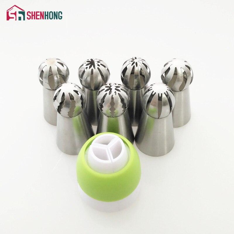 7 pçs/set Esférico Russa Tubulação Dicas E Dicas de Bicos de Engate Bola Esfera de Aço Inoxidável Bico de Confeiteiro Pastelaria Do Queque