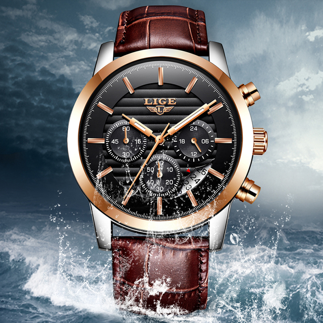 2020 LIGE Mens Watches Top Brand Luxury Business Quartz Wristwatch Men Casual Leather Waterproof Soprts Watch Relogio Masculino