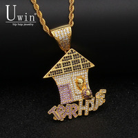 UWIN Trap House Pendant AAA CZ Bling Purple Iced Out Micro Paved Money Bag Necklace Tennis Chain Men's Hiphop Jewelry