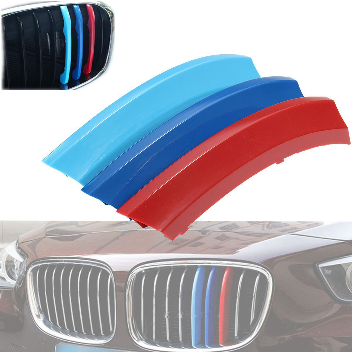 -Kidney Grills Insert accessories-M-Color Front Grille Stripe Decals For X1 E84 2009-2015 7 Grilles