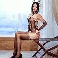 Selebritee sexy mulheres negras lingerie conjunto rendas traje do gato orelha de gato sino senhoras lingerie sexy cosplay trajes catsuit erótico pornô