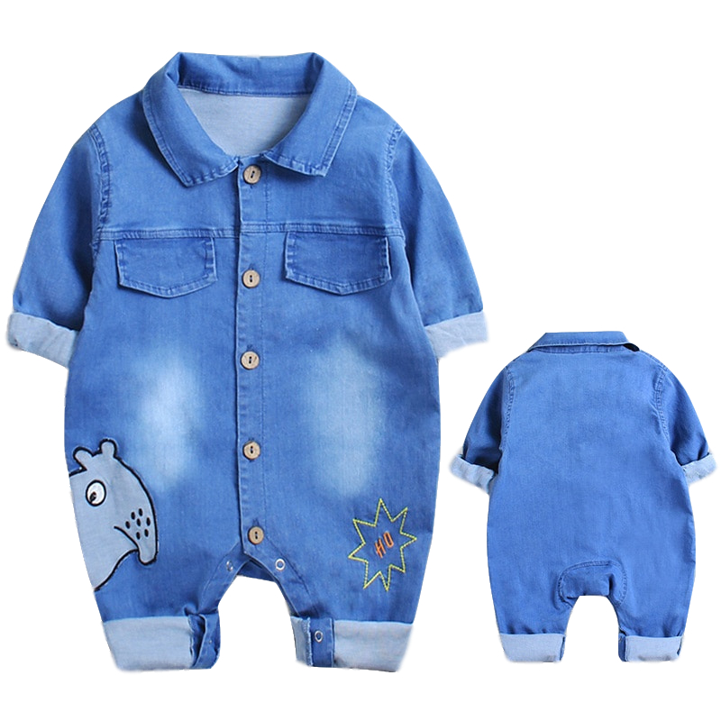 Baby Girls Clothes Jumpsuit Romper  Infant Toddler Ne Cotton Cowboys Outing Climbing Long Sleeves Thin Clothes