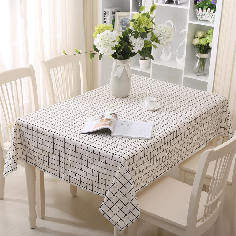 Beige And Coffee Plaid Print Linen Contemporary Bedroom: Cotton Linen Tablecloth Europe White Plaid Printed