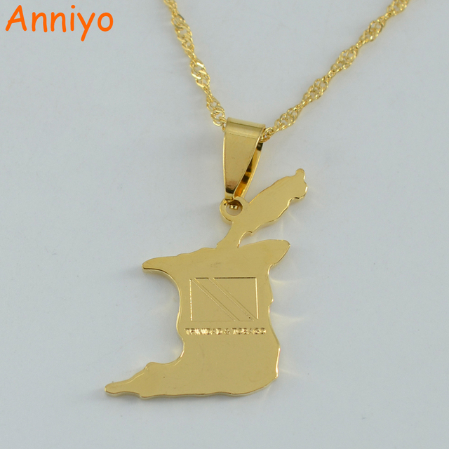 box necklace and with trinidad pin tobago gold tone flag chain pendant