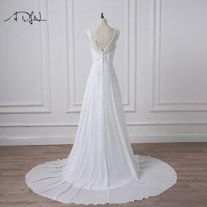 Image 2 - ADLN Stock Chiffon Beach Wedding Dresses White/Ivory Boho Bridal Gown Vestidos de Novia V neck Beaded Plus Size Bride Dress