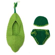 Baby Pea Pod Accessories Green New Born Photography Prop Crochet Baby Pants Cute 0 6 Months Baby Clothes Infant Set Cotton Suit