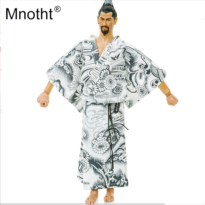 Mnotht 1/6 Male Action Figure Japanese Kimono Model Men's Bathrobe River Water Toy for 12″ Soldier Clothing Toys Accessories