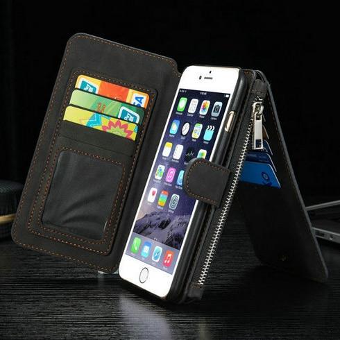Populära Caseme 2 i 1 kortspalter äkta läder plånbok väska - Reservdelar och tillbehör för mobiltelefoner - Foto 4