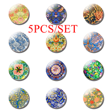 5PCS/SET Flower and Bird World 25mm Round Glass Dome Cabochon Jewelry Art Accessories Beautiful Personalized
