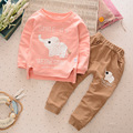 2016 New Boys Girls Cartoon Elephant Cotton Clothes Sets Baby Children Clothing Set Autumn Winter Warm Sweaters+Pants Suit 2-4Y