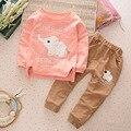 2016 New Boys Girls Cartoon Elephant Cotton Clothes Sets Baby Children Clothing Set Autumn Winter Warm Sweaters+Pants Suit 2-4Y