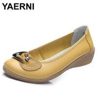 YAERNI Women S Shoes Brand Casual Genuine Leather Rhinestone Bowtie Loafers Woman Fashion Flats Ladies Soft