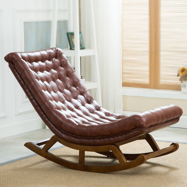 Modern Design Rocking Lounge Chair Leather And Wood For Home Furniture Living Room Luxury