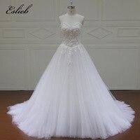 Eslieb Vestido De Noiva Sweetheart A Line Vintage Robe De Mariage Special Lace Design Nude Tulle