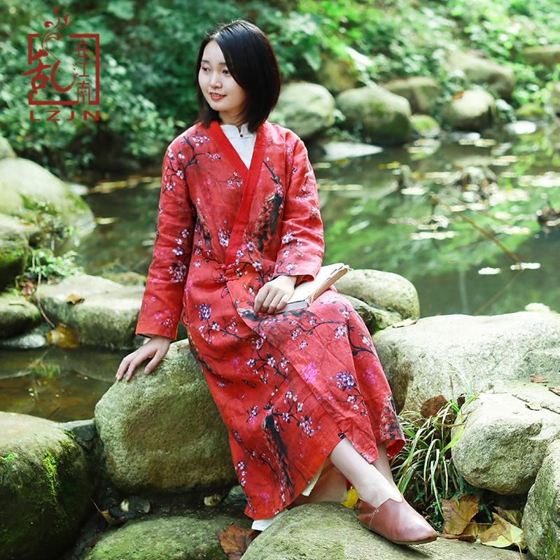 LZJN Designer Linen Trench Dress Women High Quality Peacock Floral Print V Neck China Casual Long