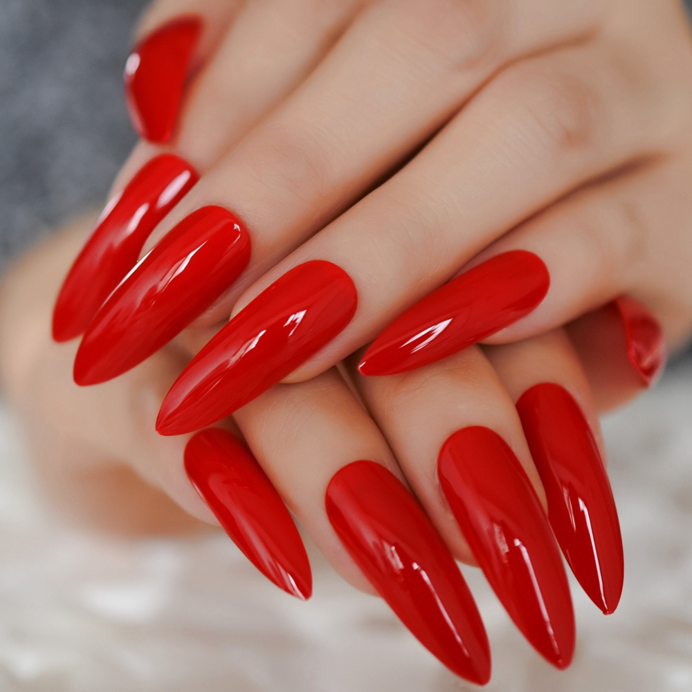 Sharp Red Extra Long Nail Stiletto Sexy Blood Nail Charming Trendy