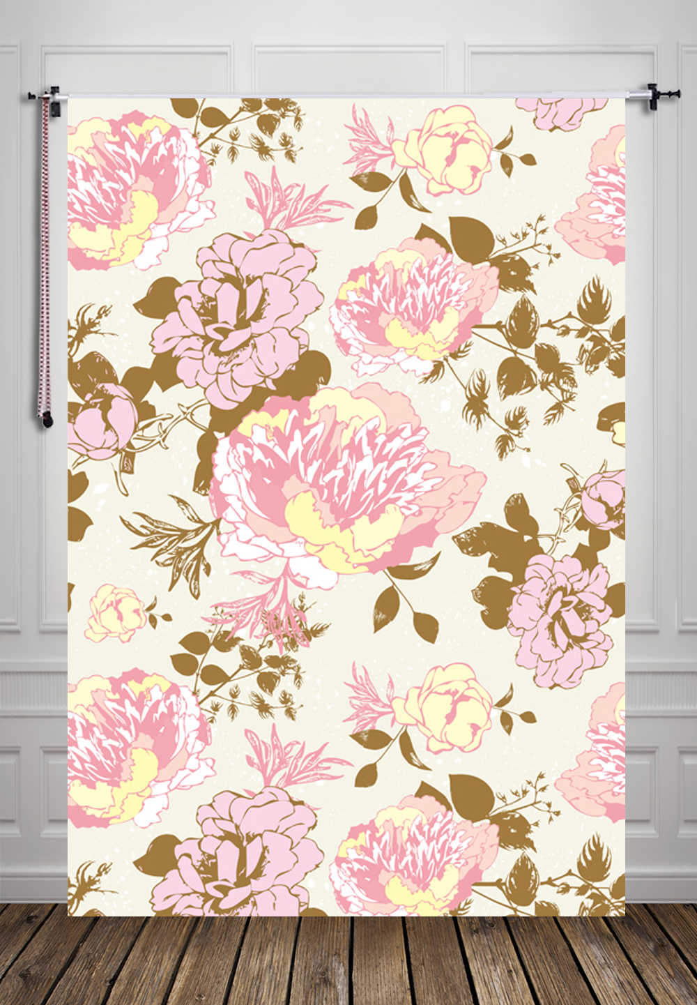 Huayi Shabby Chic Floral Backdrop For Photography Pink Flowers