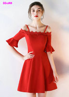 Elegant Red Prom Dresses 2017 New Boat-Neck Satin Knee-Lingth Custom Made Celebrity Party Gowns Short Evening Dress Real Photos