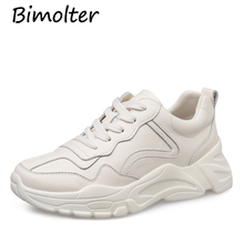 Bimolter 2019 Brand Design Women Genuine Leather Casual Shoes Woman Ladies Sport Sneakers High Platform Real NC070