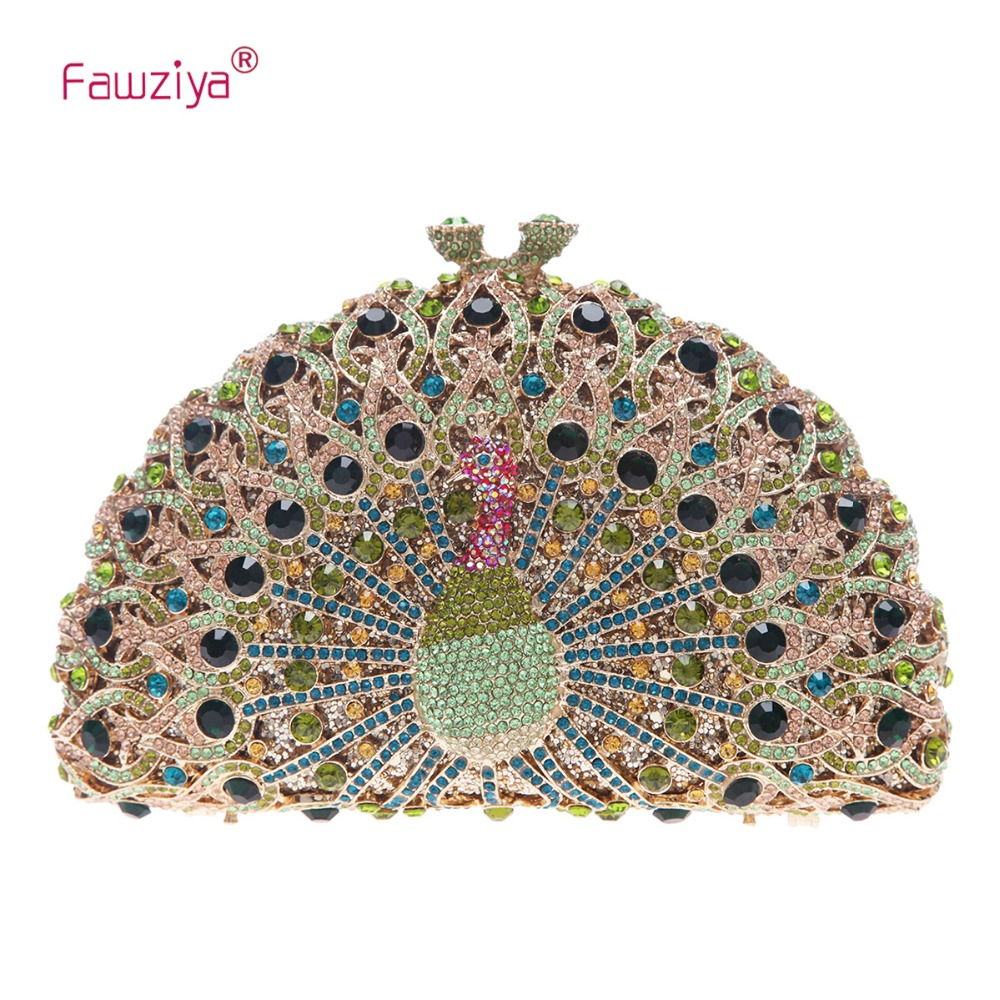 Fawziya Luxury Crystal Clutches For Women Peacock Clutch Evening Bag цены