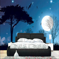 Home Decor Photo Backdrops Wallpaper For Living Room Night Moon Star Tree Office Bathrooms Wall Mural