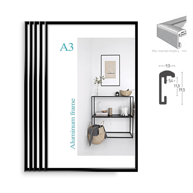 Classic super narrow aluminum A3 poster frame 5pcs/set plus vintage ...