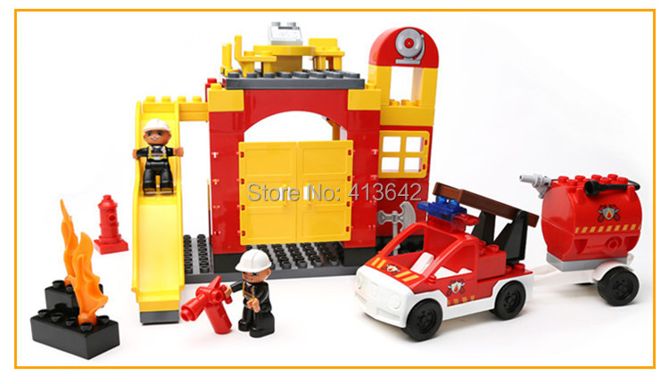69pcs Fire Station Set Big Building Blocks Scene Set Quality ABS Big Blocks Boys Toys Compatible Free Shipping