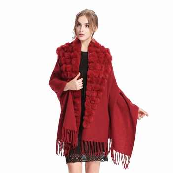 ZY87001-1 Classic Womens Woolen Shawls with Rabbit Fur pompoms Tassels Decoration Fashion Lady Solid Wool Poncho Outwear Stoles