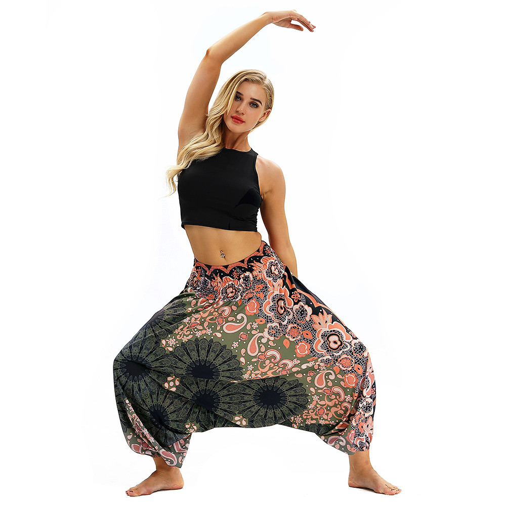 Women Men Pants Casual Woman High Waist Wide Leg Harem Trousers Baggy Boho Loose Aladdin Festival Hippy Jumpsuit Print Lady pant 30