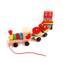 Lepin Toddler Baby Wooden Stacking Choo Choo Train Block Toy Boys and Girls Block Toy Wooden Educational Toy for Children Gift(China)