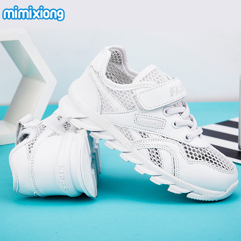 High Quality Boys Running Shoes Mesh Breathable Children's Sport Shoes Anti-Slip Kids Sneakers Summer White Casual Shoes Active цена