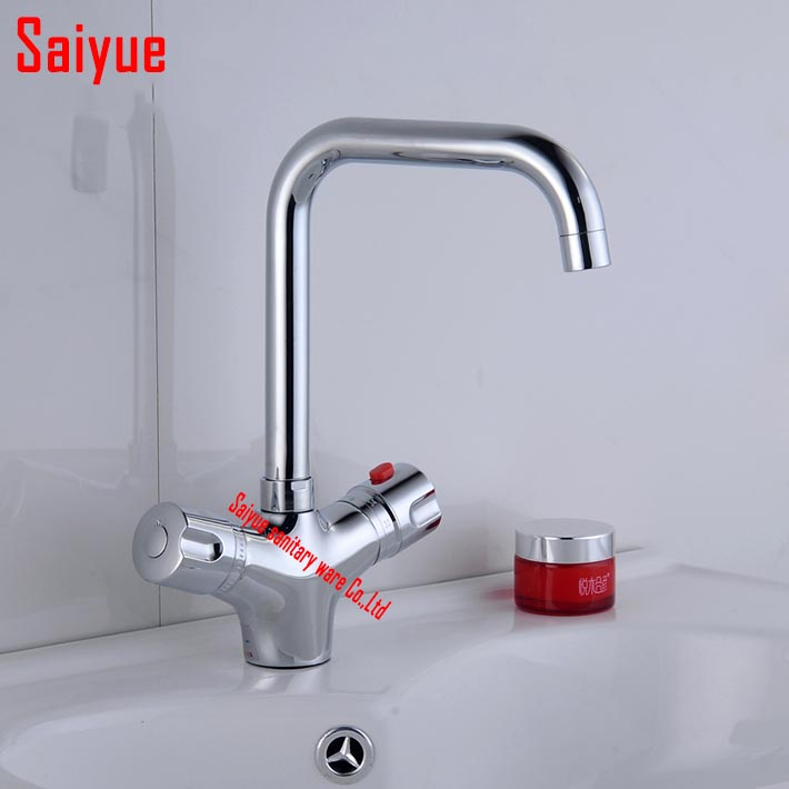 Thermostatic Bathroom Faucet Mixer deck Mount Polished Chrome Hot Cold Water tap Constant Temperature Control mixer
