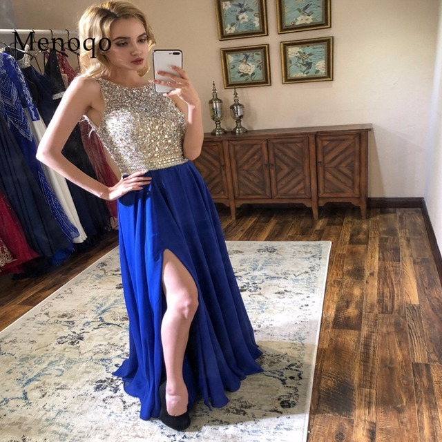 d4971d4af12a0 New arrival sexy party evening dresses Vestido de Festa A line Chiffon prom  dress beading Robe De Soiree Side Slit Open Back-in Evening Dresses from ...