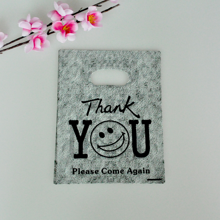 100pcs 15x20cm Gray Thank You Design Plastic Gift Bag Favor Boutique Gift Jewelry Packaging Plastic Shopping Bags With Handle