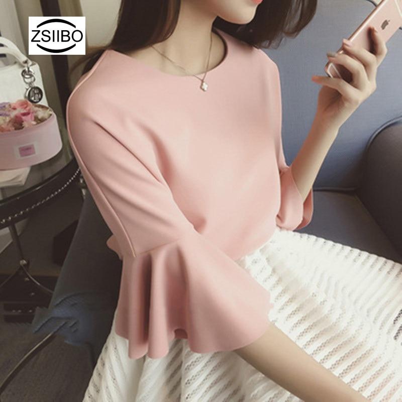 Autumn Elegant Women   Blouse     Shirt   Korean Style Round Neck Trumpet Sleeves Female Tops Tee Harajuku OL Work Pink   Blouse