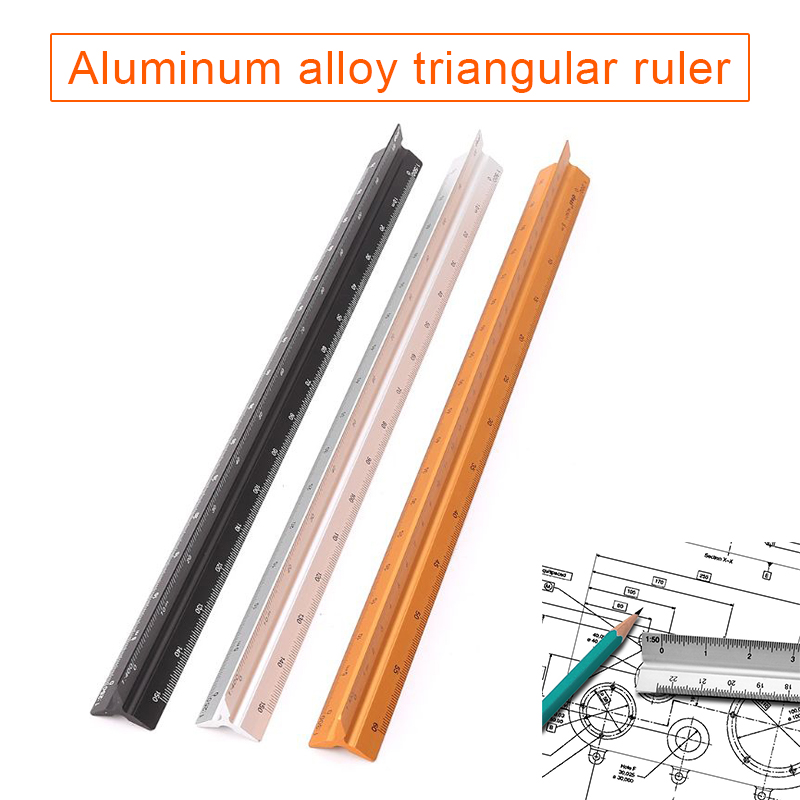 попсокет 30cm Triangular Architect Scale Ruler Aluminum Scale Ruler For Drafting School Office Supplies Drawing Supplies
