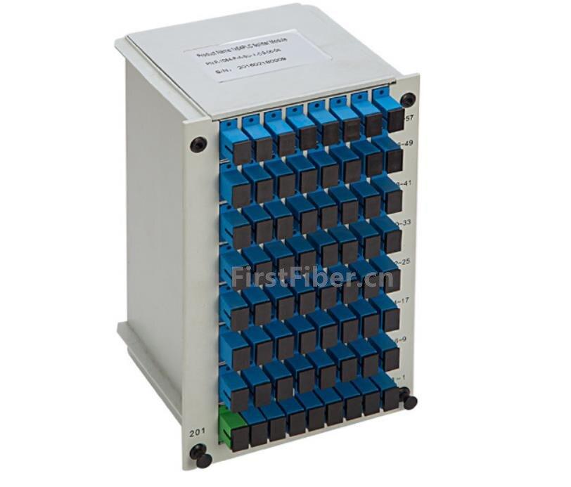1x64 SC/UPC répartiteur Cassette carte Insertio ramification Fiber optique boîte Type ABS PLC séparateur boîte, FTTH 1X64 planaire guide d'ondes