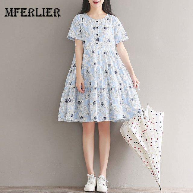 732f31b167f83 Mferlier Mori Girl Simple Beach Dress O Neck Short Sleeve Refreshing Floral  Print Pleated Hem Patchwork Women Summer Dresses