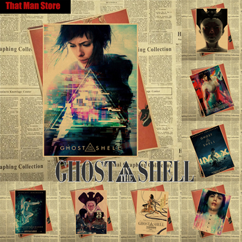 Ghost in the Shell 2017 Scarlett Johansson - Kitano Takeshi core Vintage Movie Kraft Paper Poster 42X30cm image