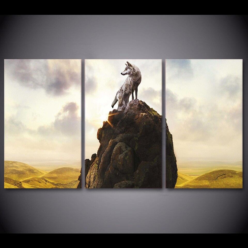 3 pièce encadré HD imprimé loup Totem montagne moderne décor à la maison toile photo Art abstrait peinture à l'huile