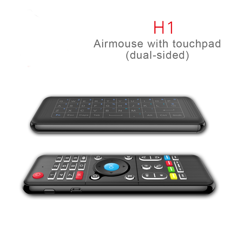 Newest H1 Full Touchpad Keyboard 2.4GHz Wireless IR learning Remote Control 3 level backlit For Windows PC Android TV Box